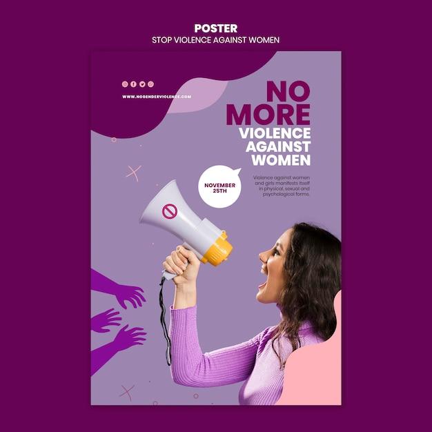 Eliminazione della violenza contro le donne modello di poster con foto Psd Premium