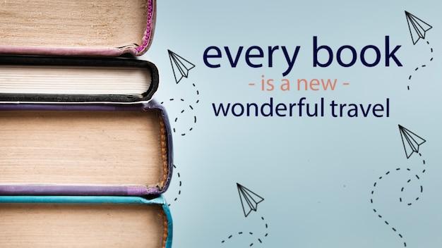 Ogni libro è una nuova meravigliosa citazione di viaggio con i libri Psd Premium