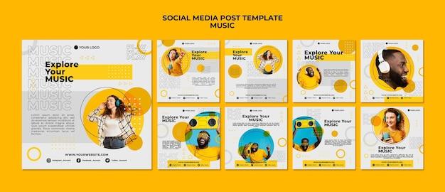 Esplora il tuo post sui social media musicali Psd Premium