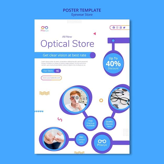 Modello di poster del negozio di occhiali Psd Premium