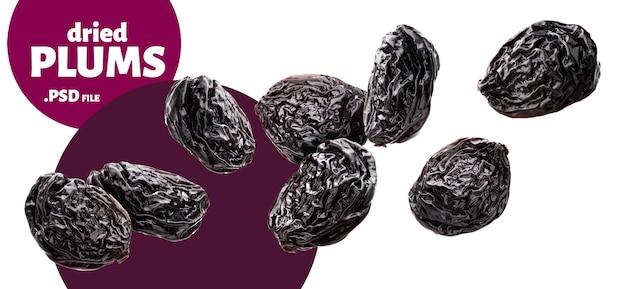 Prugne che cadono isolato, banner di prugne secche Psd Premium