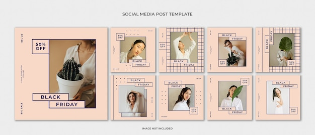 Insieme di modelli di moda instagram post Psd Premium