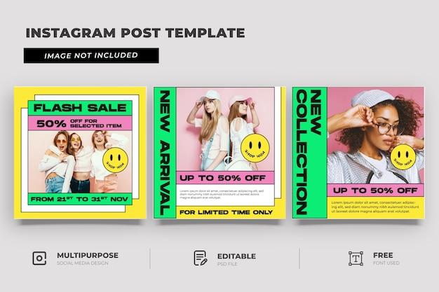 Modello di social media del negozio di moda con stile memphis Psd Premium