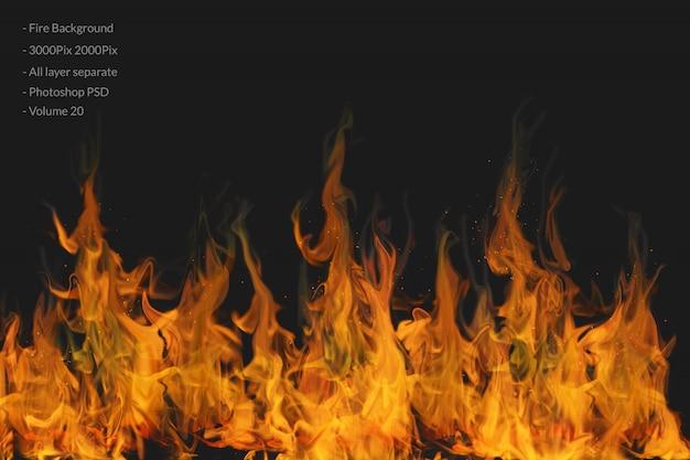 Sfondo di fiamme di fuoco Psd Premium