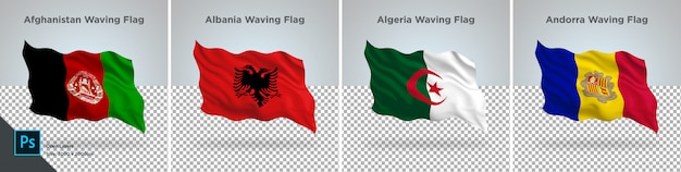Set di bandiere di afghanistan, albania, algeria, andorra flag impostato su trasparente Psd Premium