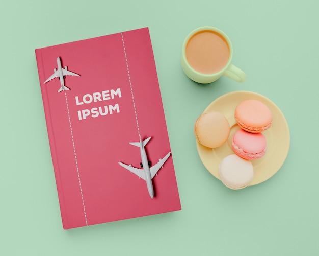 Composizione mock-up di copertina piatta per libri Psd Premium