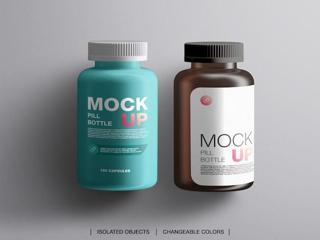 Mockup di contenitori di plastica per il trattamento della medicina piatta laici Psd Premium