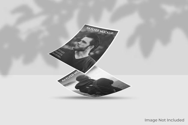 Mockup di brochure flyer galleggiante con sovrapposizione di ombre Psd Premium