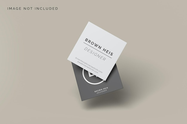 Mockup di biglietto da visita quadrato galleggiante design Psd Premium