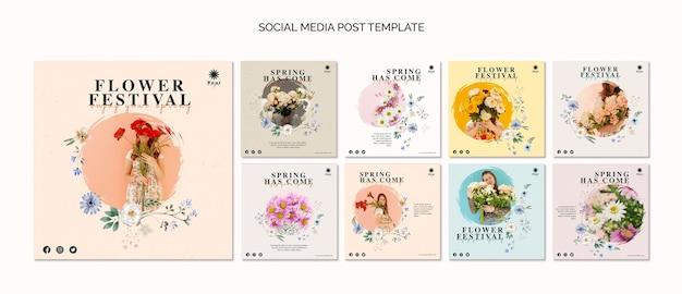 Modello di post social media festival dei fiori Psd Premium