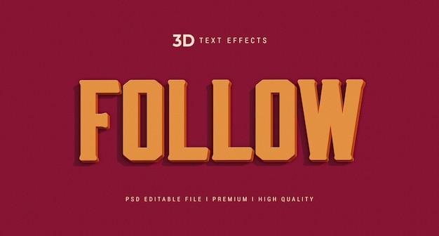 Segui il mockup dell'effetto in stile testo 3d Psd Premium