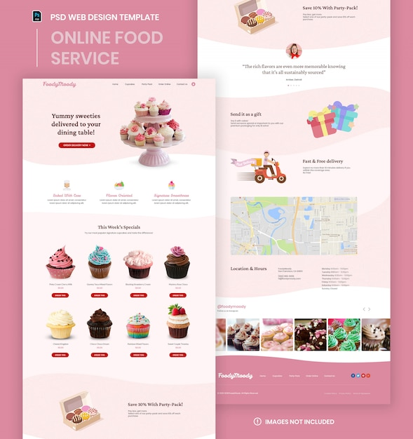 Modello di psd della pagina web del sito web di affari di consegna dell'alimento Psd Premium