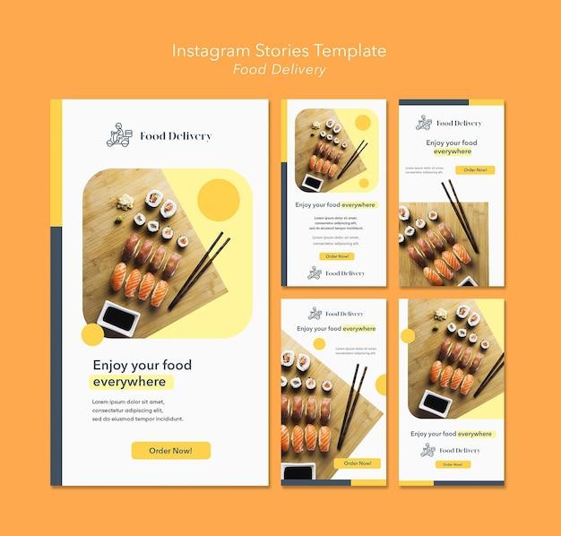 Modello di storie di instagram di consegna di cibo Psd Premium