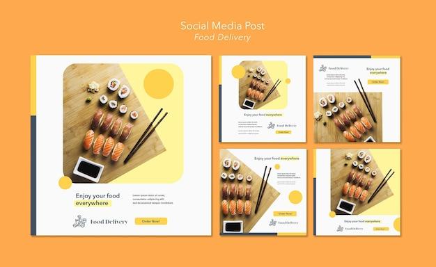 Modello di post sui social media per la consegna di cibo Psd Premium