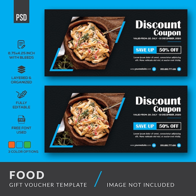 Modello del buono regalo alimentare Psd Premium