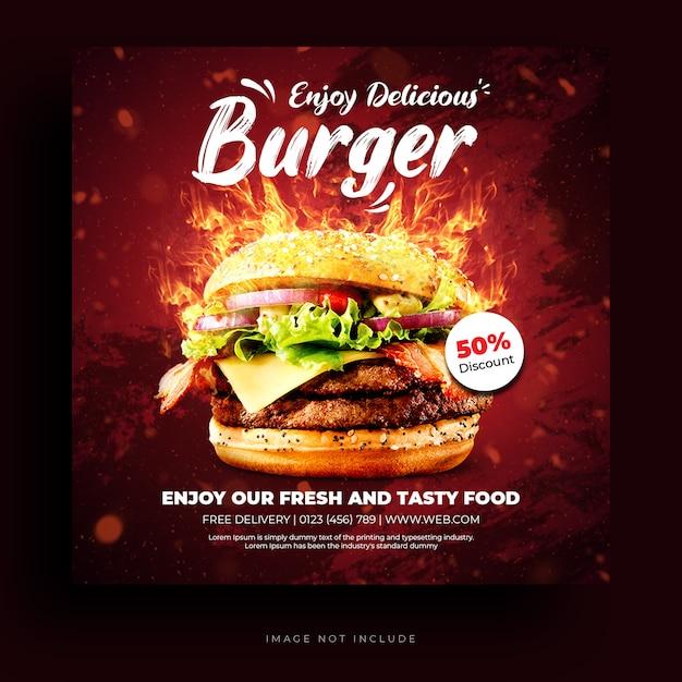 Menu di cibo e modello di banner di social media hamburger ristorante Psd Premium