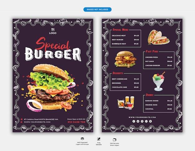Modello di volantino di menu e ristorante di cibo Psd Premium