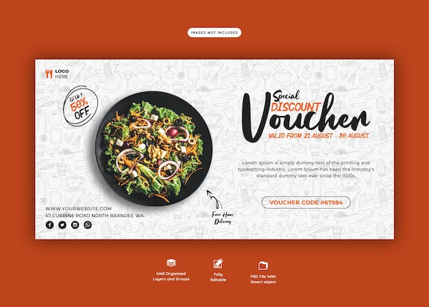 Menu di cibo e modello di buono regalo ristorante Psd Premium
