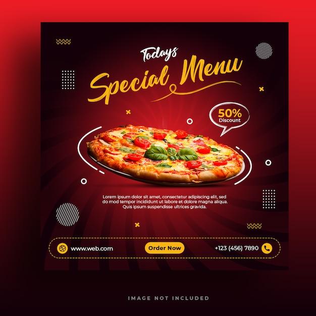 Modello di banner social media menu ristorante e pizza ristorante Psd Premium