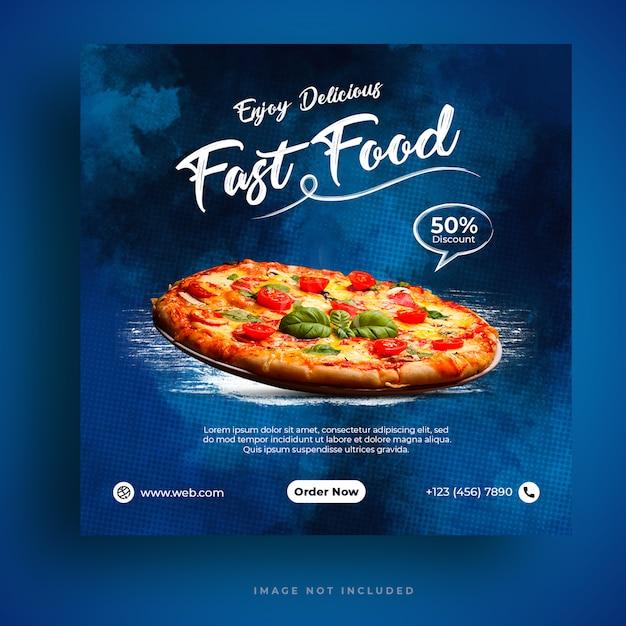 Modello di banner di social media per menu e ristorante pizza Psd Premium