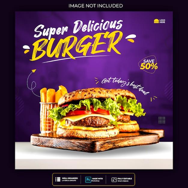 Modello di banner di social media per menu e ristorante Psd Premium