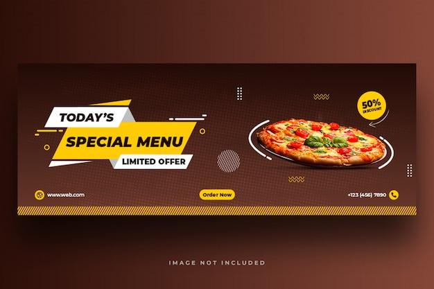 Menu di cibo e ristorante modello di banner di social media Psd Premium