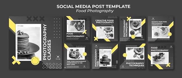 Modello di post sui social media di fotografia di cibo Psd Premium