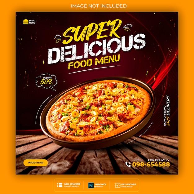 Modello di banner post instagram social media cibo pizza Psd Premium