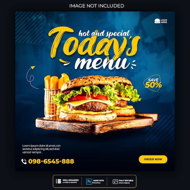 Promozione dei social media alimentari e modello di progettazione di post banner instagram Psd Premium