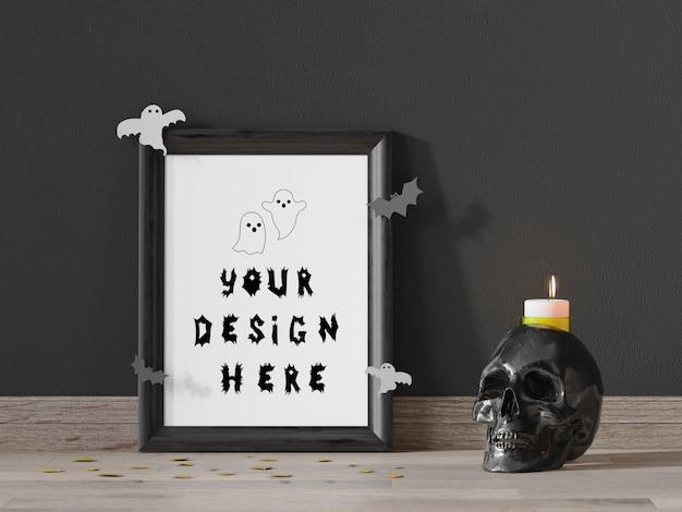 Cornice mockup per evento di halloween con teschio e candela Psd Premium