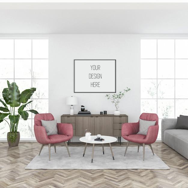 Mockup cornice, soggiorno con cornice orizzontale nera, interni scandinavi Psd Premium