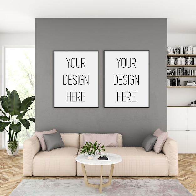 Mockup di cornice, soggiorno con cornici verticali nere, interni scandinavi Psd Premium