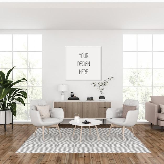 Mockup cornice, soggiorno con cornice quadrata bianca, interni scandinavi Psd Premium