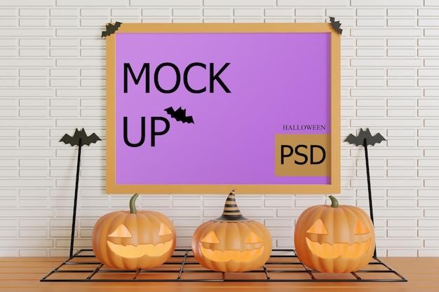 Mockup di cornice sul muro con zucche di halloween Psd Premium