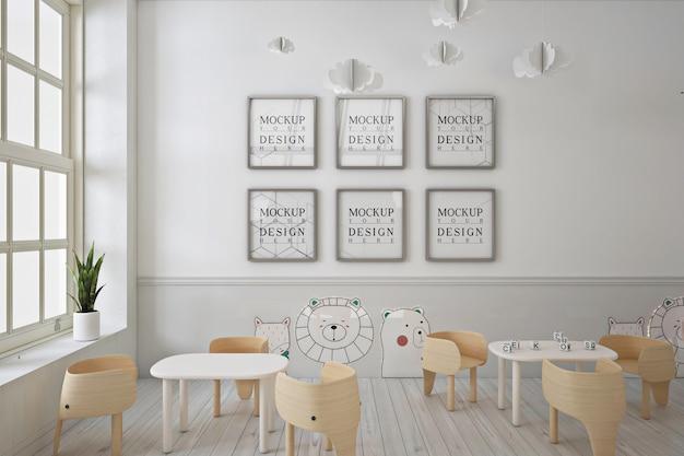 Mockup di poster cornice nella moderna scuola materna carina Psd Premium