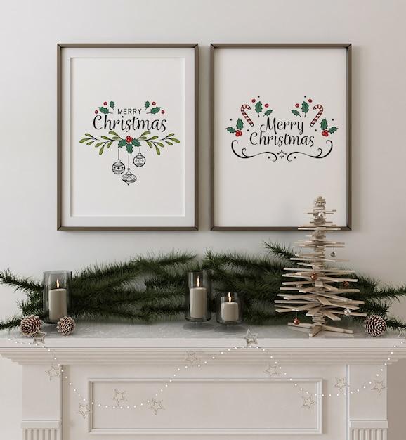 Mockup di poster cornice con albero di natale in legno e decorazioni Psd Premium