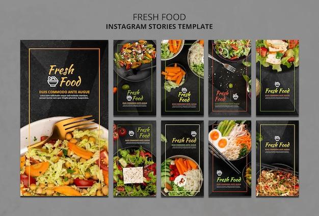 Modello di storie di instagram di cibo fresco Psd Premium
