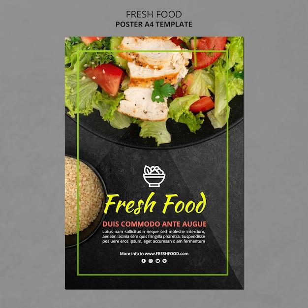 Modello di poster di cibo fresco Psd Premium