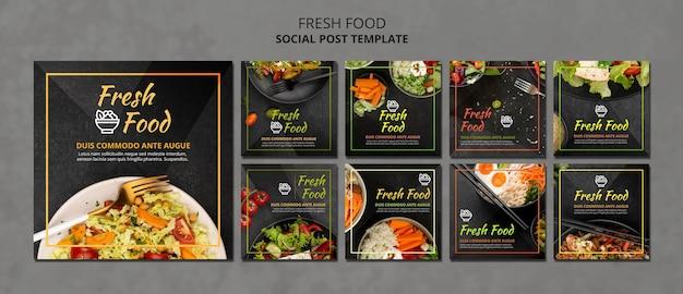 Modello di post sui social media di cibo fresco Psd Premium