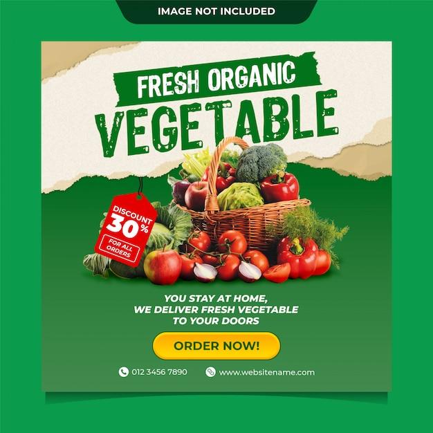 Modello di posta sociale media instagram consegna verdura biologica fresca Psd Premium