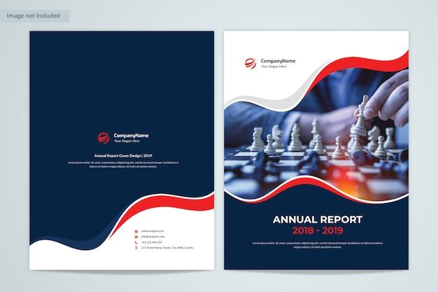 Front & back annual report cover design con immagine Psd Premium