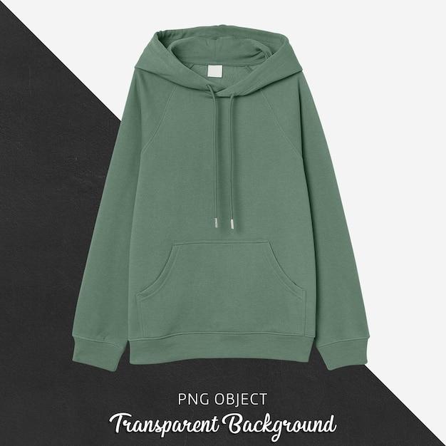 Vista frontale del mockup di felpa con cappuccio di base verde Psd Premium