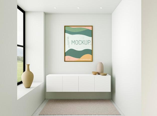 Composizione interna minimalista vista frontale con cornice mock-up Psd Premium