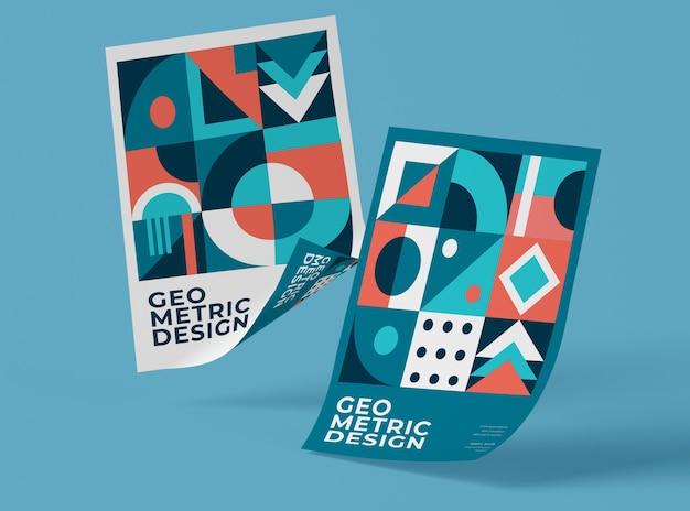 Vista frontale di carte mock-up con forme geometriche Psd Premium