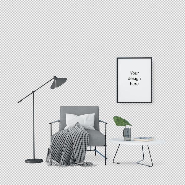 Vista frontale del telaio mockup con sedia e lampada Psd Premium