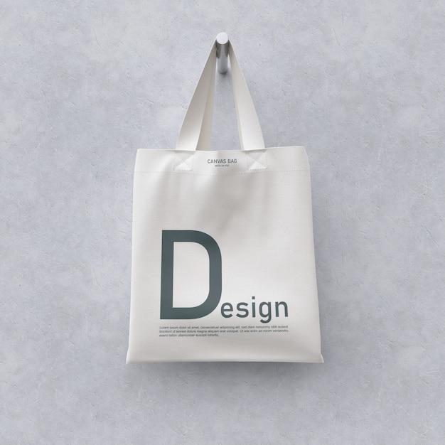 Vista frontale del modello di borsa in tessuto Psd Premium