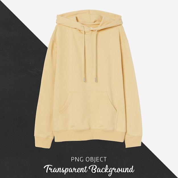 Vista frontale del mockup di felpa con cappuccio gialla Psd Premium