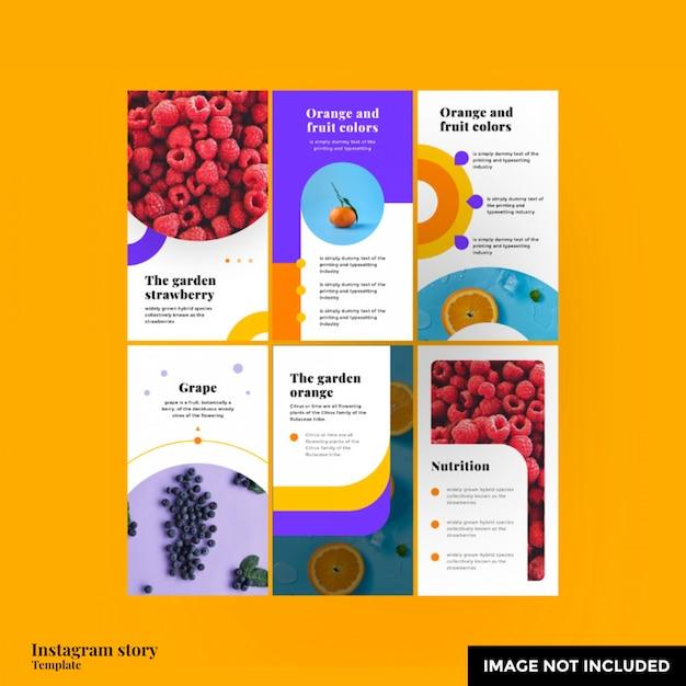 Modello di storia di instagram di frutta Psd Premium