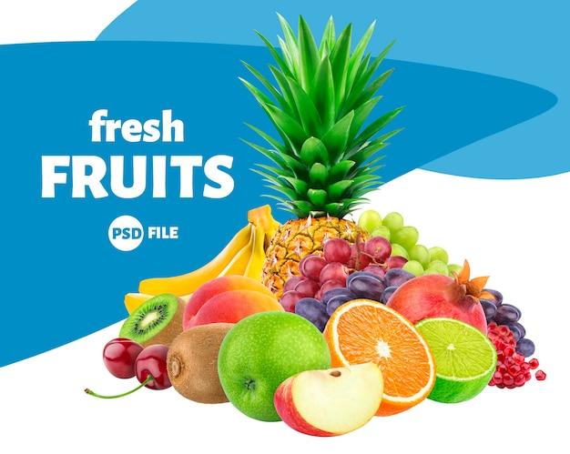 Assortimento delle bacche e dei frutti isolato su bianco Psd Premium