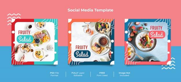 Fruity salad memphis style food social media post Psd Premium